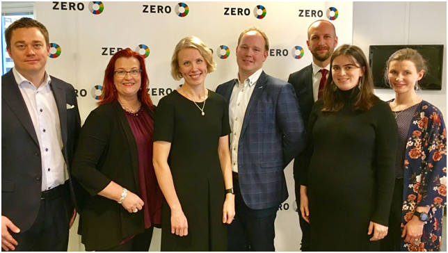 UPM's Markku Purmonen (left), Sari Mannonen and Maiju Helin together with ZERO's Kåre Gunnar Fløystad, Anders Tangen, Anne Marit Melbye and Kristin Brenna.