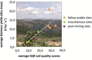 Figure 2: Soil quality assessment and biomass yields from marginal lands