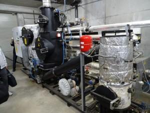 Wood gas co-generator - pyrolysis unit (wood to gas) of Spanner K.K. installed 2014 in Ecomura near Koriyama, Fukushima Prefecture, Japan.