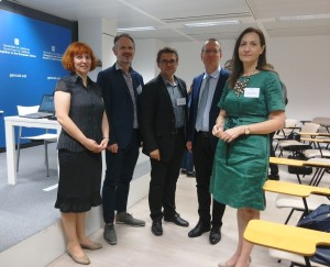 A moment from the SecureChain Final Conference, 7 June 2018 in Brussels (from right to left): Maria Georgiadou, DG Research and Innovation of the European Commission; Uwe Kies, InnovaWood; Göran Gustavsson, Energikontor Sydost; John Vos, BTG Biomass Technology Group; Lesya Loyko, FORZA Agency for Sustainable Development of the Carpathian Region.